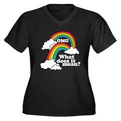 Double Rainbow Women's Plus Size V-Neck Dark T-Shi