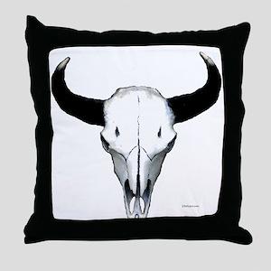 Buffalo skull European mount Throw Pillow
