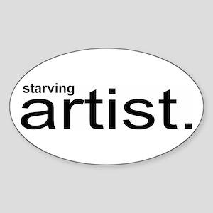 starving artist. Oval Sticker