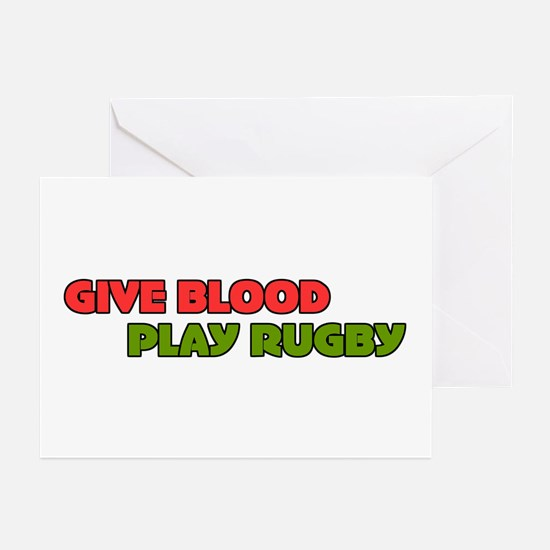 Give Blood Play Rugby Fun Greeting Cards (Package