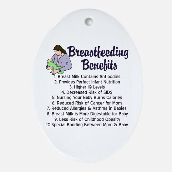 Breastfeeding Benefits Ornament (Oval)