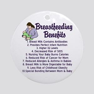Breastfeeding Benefits Ornament (Round)