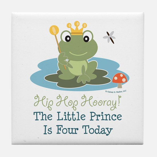 Frog Prince 4th Birthday Tile Coaster
