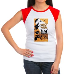 Vintage Trick or Treat Image Women's Cap Sleeve T-