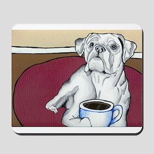 Coffee Boxer (white) Mousepad