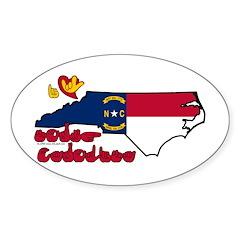 ILY North Carolina Sticker (Oval)