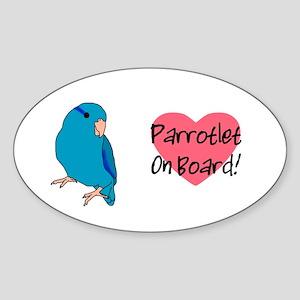 Blue Parrotlet On Board Oval Sticker