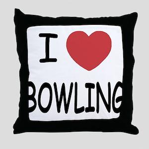 I heart bowling Throw Pillow