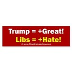 Trump +Great, Dems ÷Hate Sticker (Bumper)