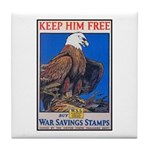 Keep Him Free Eagle Tile Coaster