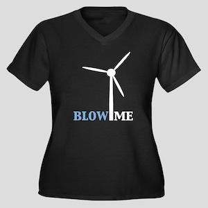 Blow Me (Wind Turbine) Women's Plus Size V-Neck Da