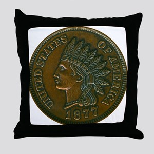 The Indian Head Penny Throw Pillow