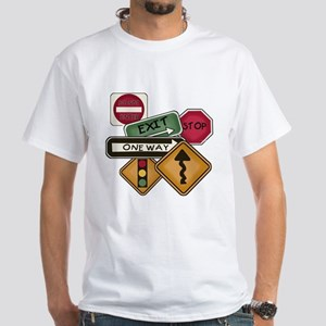 Road Signs White T-Shirt