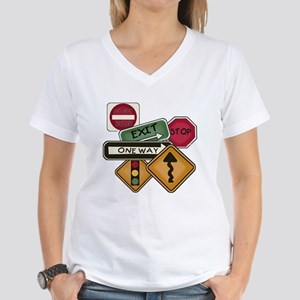 Road Signs Women's V-Neck T-Shirt