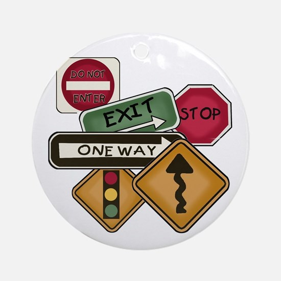 Road Signs Ornament (Round)