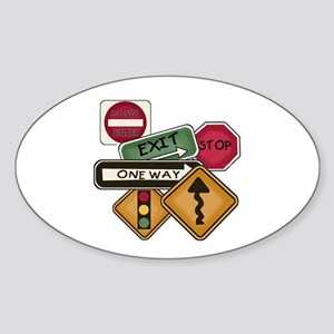 Road Signs Sticker (Oval)