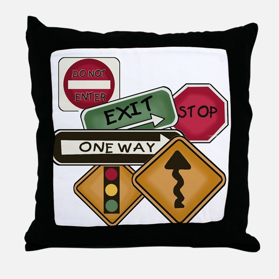 Road Signs Throw Pillow