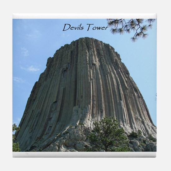 Funny Devil tower Tile Coaster