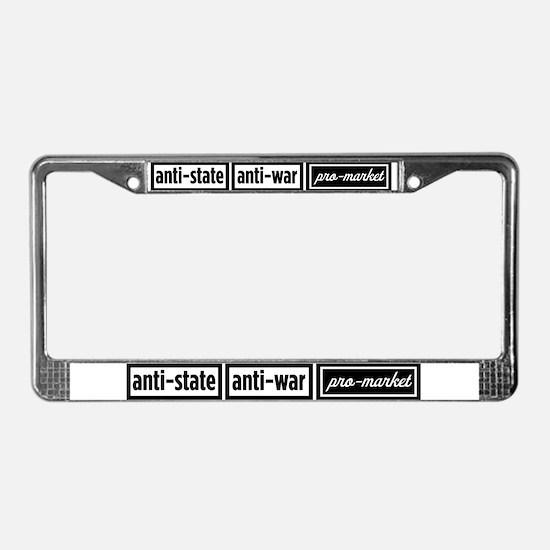 Anti-State, Anti-War, Pro-Mar License Plate Frame