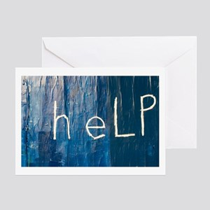 Blue Help Greeting Card