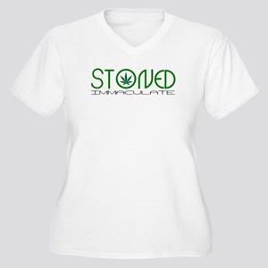 STONED IMMACULATE Women's Plus Size V-Neck T-Shirt