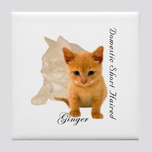Ginger Cat Kitten Tile Coaster