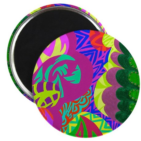 Carnival Hearts Green Magnet