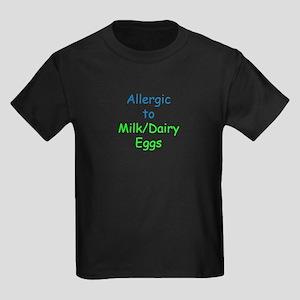 Allergic To Milk and Eggs Kids Dark T-Shirt