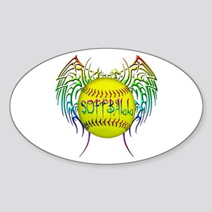 Tribal softball Sticker (Oval)