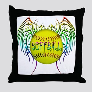 Tribal softball Throw Pillow