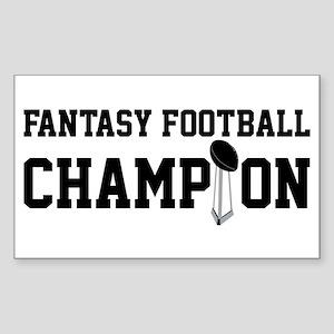 Fantasy Football Champion w/ Trophy Sticker (Recta