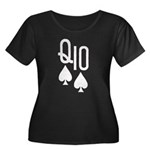 Qs10s Poker Women's Plus Size Scoop Neck Dark T-Sh