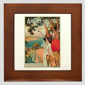 Vintage 1910 Antibes Italy Travel Framed Tile