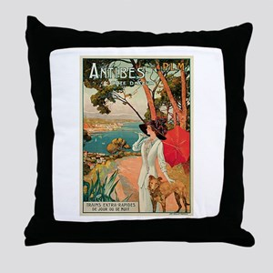 Vintage 1910 Antibes Italy Travel Throw Pillow