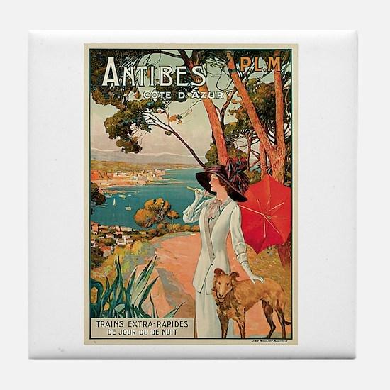 Vintage 1910 Antibes Italy Travel Tile Coaster