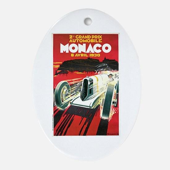 Vintage 1930 Monaco Auto Race Ornament (Oval)