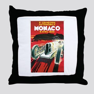 Vintage 1930 Monaco Auto Race Throw Pillow