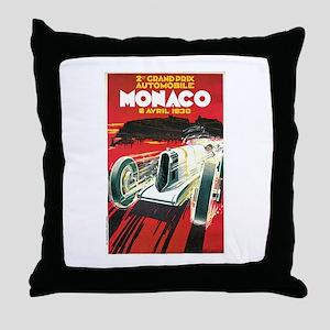 Vintage 1930 Monaco Auto Race Throw Pillow