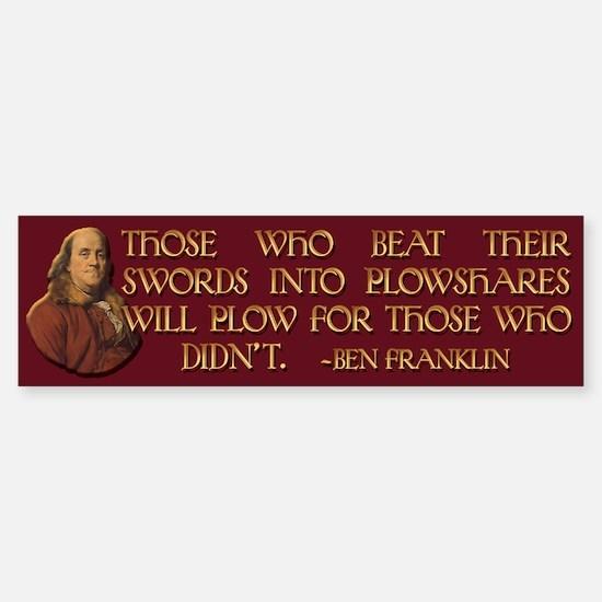 Ben Franklin on Swords and Pl Sticker (Bumper)