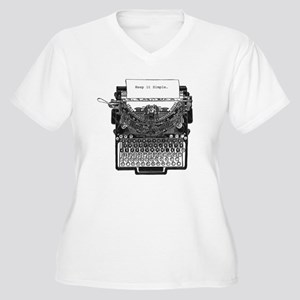 Vintage Typewriter Women's Plus Size V-Neck T-Shir