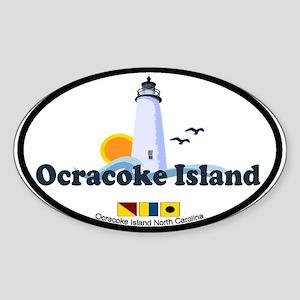Ocracoke Island - Lighthouse Design Sticker (Oval)