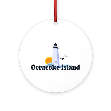 Ocracoke Island - Lighthouse Design Ornament (Roun