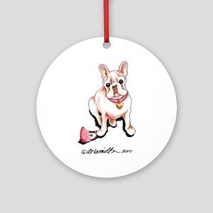 Cream French Bulldog Ornament (Round)
