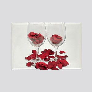Wine Glass Rose Pedals Rectangle Magnet
