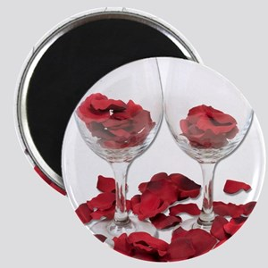 Wine Glass Rose Pedals Magnet