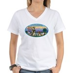 St Francis / dogs-cats Women's V-Neck T-Shirt