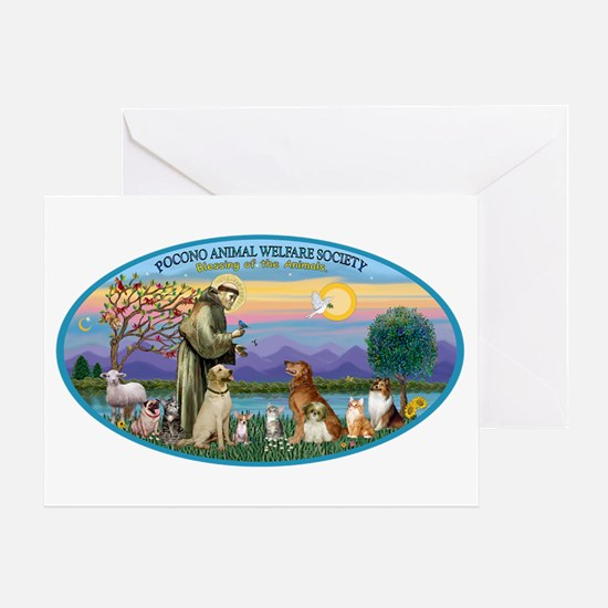 St Francis / dogs-cats Greeting Card