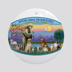 St Francis / dogs-cats Ornament (Round)