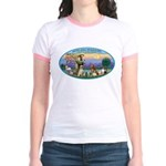 St Francis / dogs-cats Jr. Ringer T-Shirt