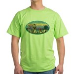 St Francis / dogs-cats Green T-Shirt